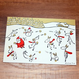 no.2 Snow Fight-  A Very Miju Christmas! Gold theme original design Christmas Card