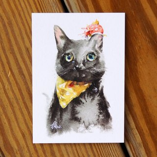 Watercolor Painted Hair Boy Series Postcard - Cat Fish