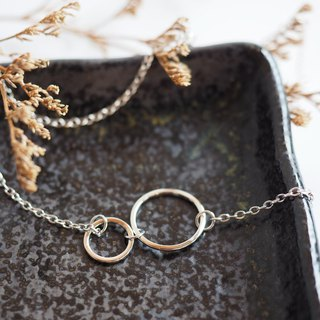Double hoops plain sterling silver necklace