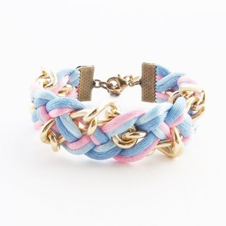 Blue-pink braided with chain bracelet