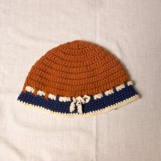 FOAK vintage retro orange blue knitting wool cap