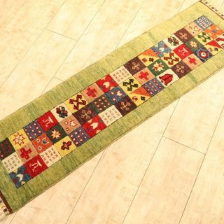 Hand-woven carpet handmade rug Elongated Runner Type Yellow Green Kilim