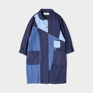Cotton denim patchwork hit color coat