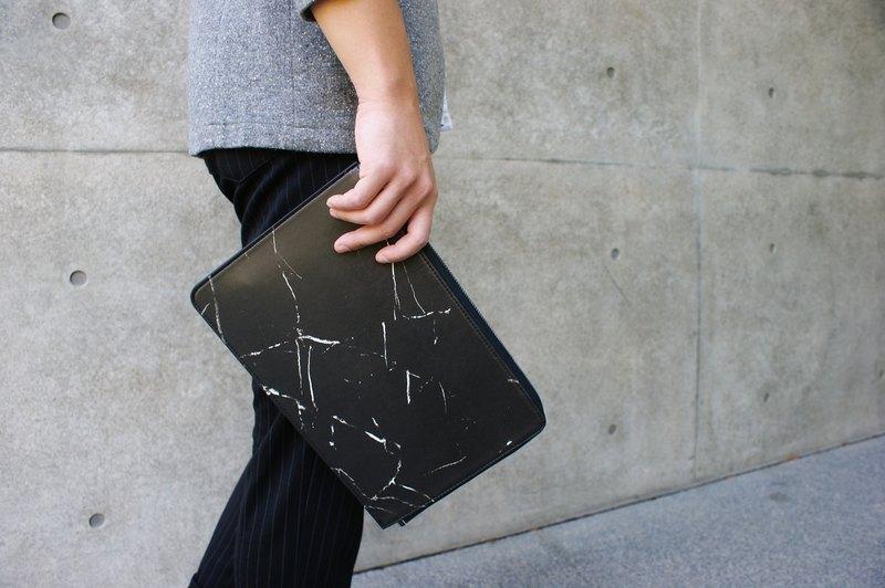 L型大理石紋平板包(黑)