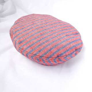 Red and blue striped thick cotton belle / beret