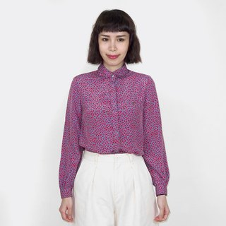 Blue gray bottom red pattern chiffon vintage long sleeve shirt BM4001