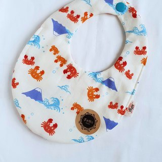 Crab Mount Fuji - Beige - Eight Layers 100% Cotton Double Sided Egg Bib. Saliva Towel