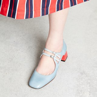 H THREE Square Head Mary Jane / Aqua Blue / Thick Heel / Retro