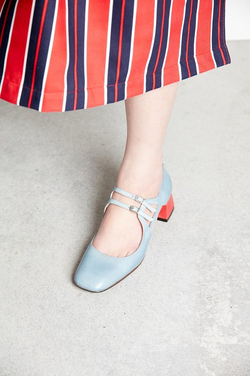 H THREE square head Mary Jane / light blue / with coarse / retro