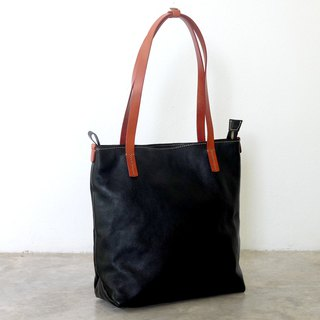 Classic Black Leather Zipper Tote Bag / Simple Black Tote