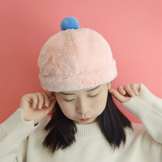 Cute pink furry melon cap autumn and winter warm plush landlord cap bao hat gift