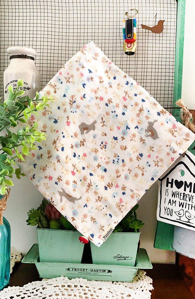 小兔子圖案口水巾/小手帕/小方巾/二重紗布