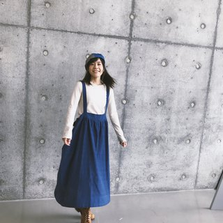 Rotating circle Japanese cotton and linen cross strap skirt | Dark blue