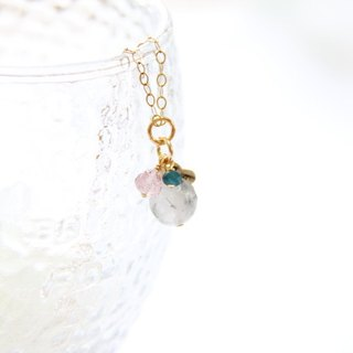 Black Crystal Heart Necklace-2 / Black Rutilated Quartz 14K GF
