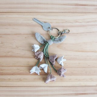Handmade 8 Cork Tree Flower Key Chains Botanical Dyed Cotton