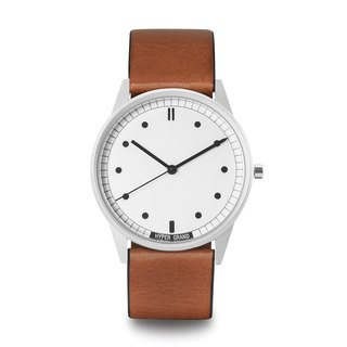 HYPERGRAND - 01 Basic Series - Silver White Dial Honey Brown Leather Watch