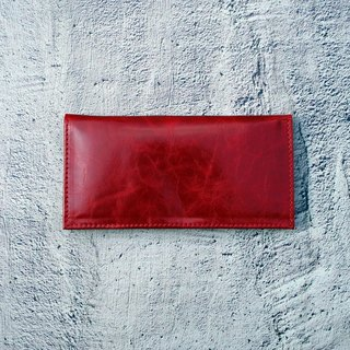 Haidai red wax antique long leather clip (4 cards)