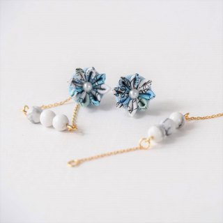 E29【清新】 Marble pattern white pine three earrings ear clips 14kgf 925 Custom