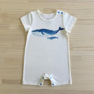 gujui love whale _ organic cotton fart clothing / jumpsuit _ white