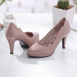 Venus-French pink rose-snake micro-tip leather high heels (not sold out)