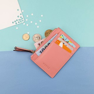 Coral Pink : Zipped Card Purse / Cow Leather