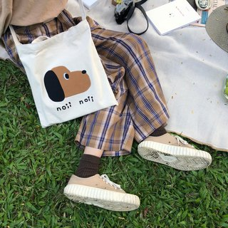 Dog embroidery dual-use canvas bag