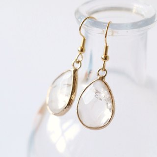 White quartz dangle earrings - 18k gold plated earrings - natural crystal