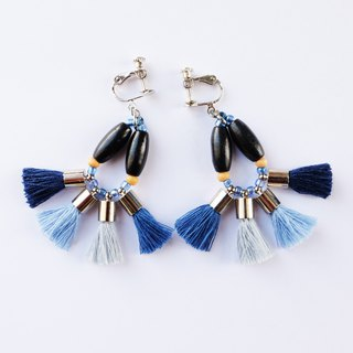 Colorful tassel earring in blue shades/matte gray and wooden beads