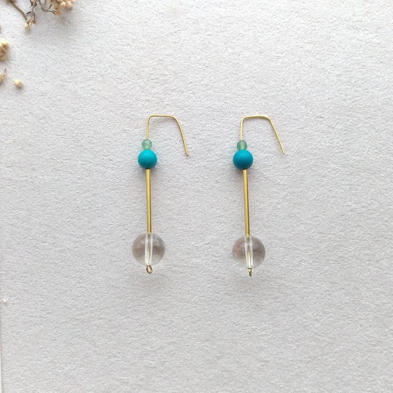 [see]. Crystal turquoise brass pin / clip earrings