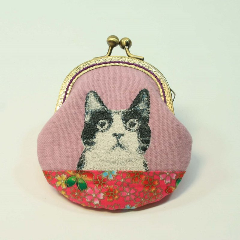 Embroidery 8.5cm Gold Coin Purse 28 - Black and White Cat