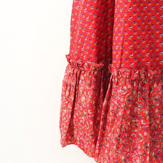 Retro European pastoral style red flowers cotton floral vintage dress European Vintage Skirt