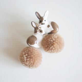 Unicorn forest big rabbit hair ball a pair of ear clip