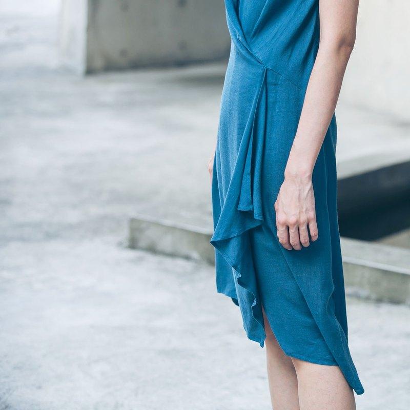【Off-season sale】前一褶洋裝 - 霧藍