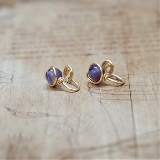 << Gold wire frame ear clip - amethyst >> 6mm amethyst (with ear pin)