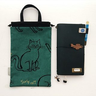 hairmo gold cat cat hand pocket bag / kettle bag - green (TN / hobo / notepad / log)