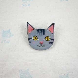 Smiling cat - gray cat pin