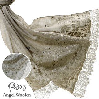 [Angel Woolen] India Pashmina handmade cashmere lace embroidery shawl quietly changing