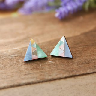 Japanese handmade jewelry - colorful geometric triangle earrings