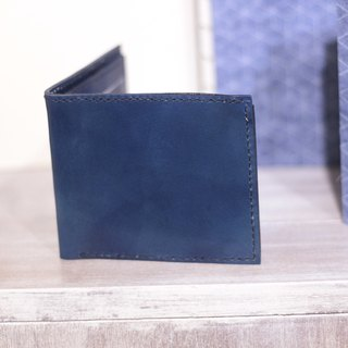 Make Your Choicesss Italian handmade leather two fold wallet navy blue