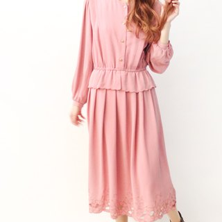 Japanese vintage flower embroidery skirt pink long-sleeved vintage dress Japanese Vintage Dress