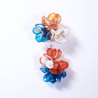 Hanakin Flower Flamenco Orange Blue Hand Made Jewelry Earrings
