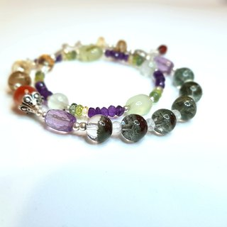 Girl Crystal World 【PURE】 - Green Ghost double-stranded bracelet bracelet natural crystal gemstone hand made