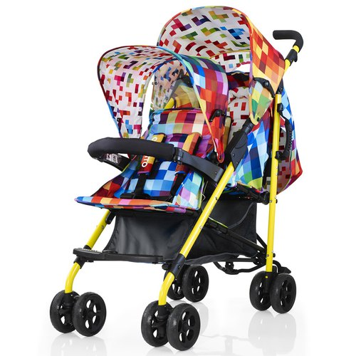 British Cosatto Shuffle Baby Double Trolley - Pixelate