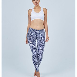 Aurora stretch tight yoga pants / blue and white veins
