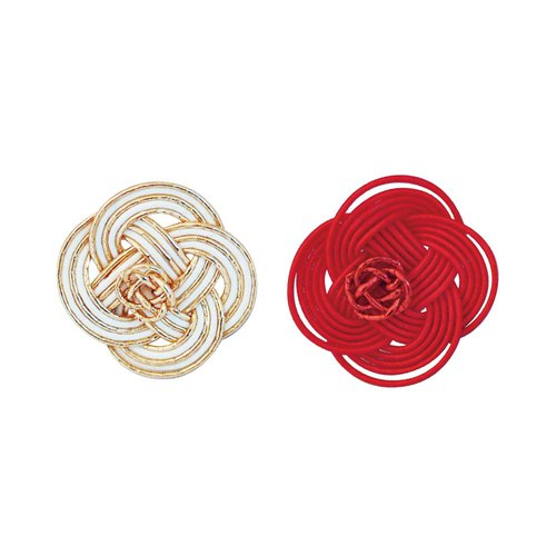 "Mizuhiki Pierced earrings ""Rape blossoms"" -Ivory Gold×Red-"