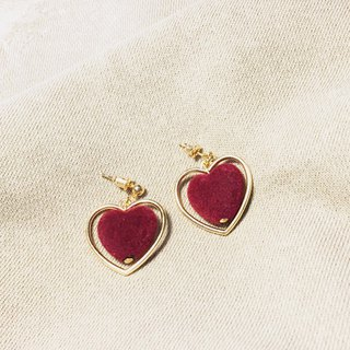 Love love love love ❥❥ cute sweet sister vintage wine heart peach metal hollow Christmas Valentine ear clip earrings earrings