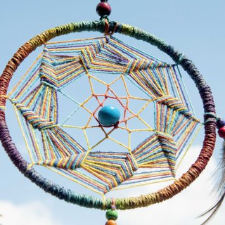 Ethnic style hand-woven cotton and linen South American Dream Catcher - Rainbow Indian Mandala Mandala