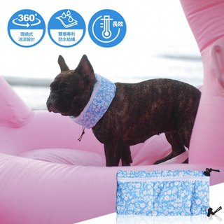 Cool refreshing summer essential pet towel L (fresh sky blue small floral)