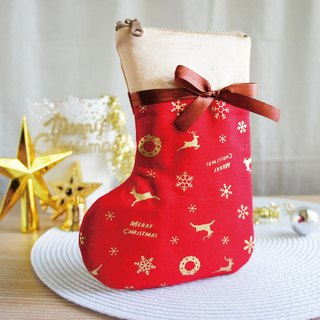 Lovely [Japanese cloth] Elk snowflake Christmas socks mobile phone bag, red hot stamping, 5.5 inch available