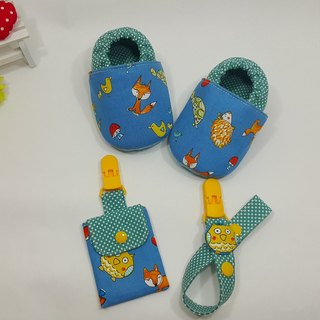 Forest small animal births ceremony Baby Shoes + talismans pocket clip + pacifier clip